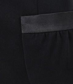 Sacou office negru cu garnitura saten