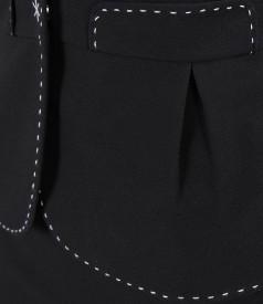 Sacou din stofa elastica cu tighel contrast