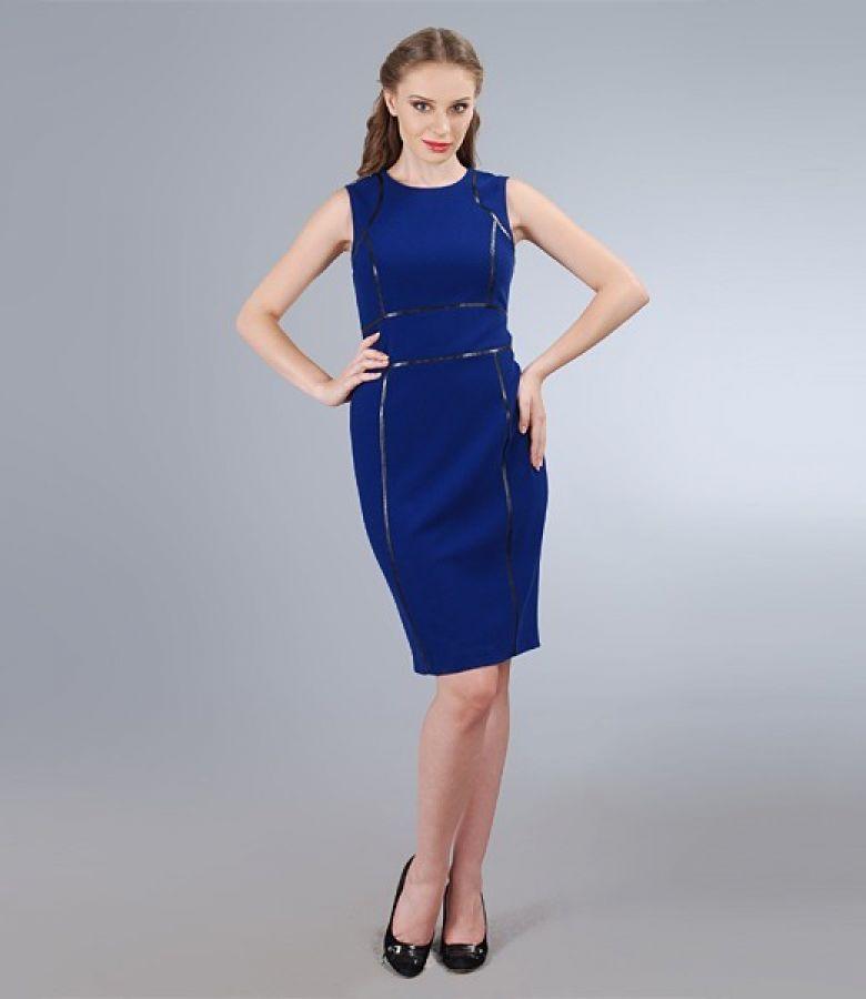 Rochie din stofa elastica albastra cu garnitura contrast