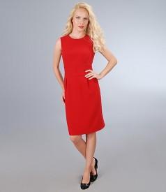 Rochie din stofa elastica cu tighel contrast