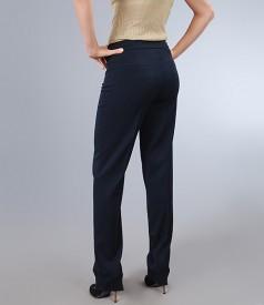 Pantaloni office din stofa elastica bleumarin