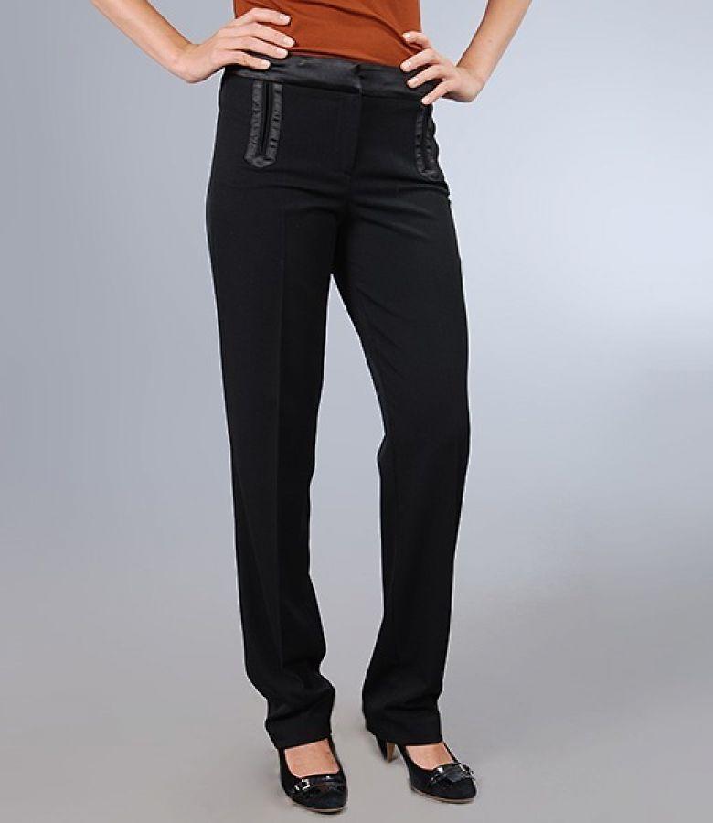 Pantaloni office din stofa elastica neagra cu garnitura saten