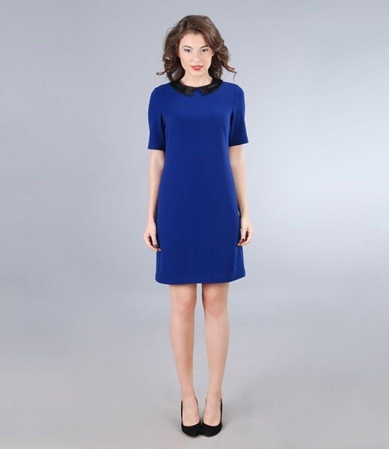 Rochie din stofa elastica albastra cu guler saten