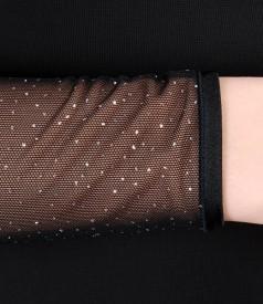 Rochie din jerse elastic cu picouri de efect