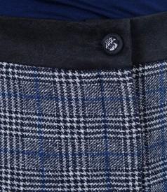 Fusta din lana virgina si bumbac bleumarin cu buzunare