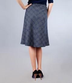Fusta din lana virgina si bumbac bleumarin cu catarama
