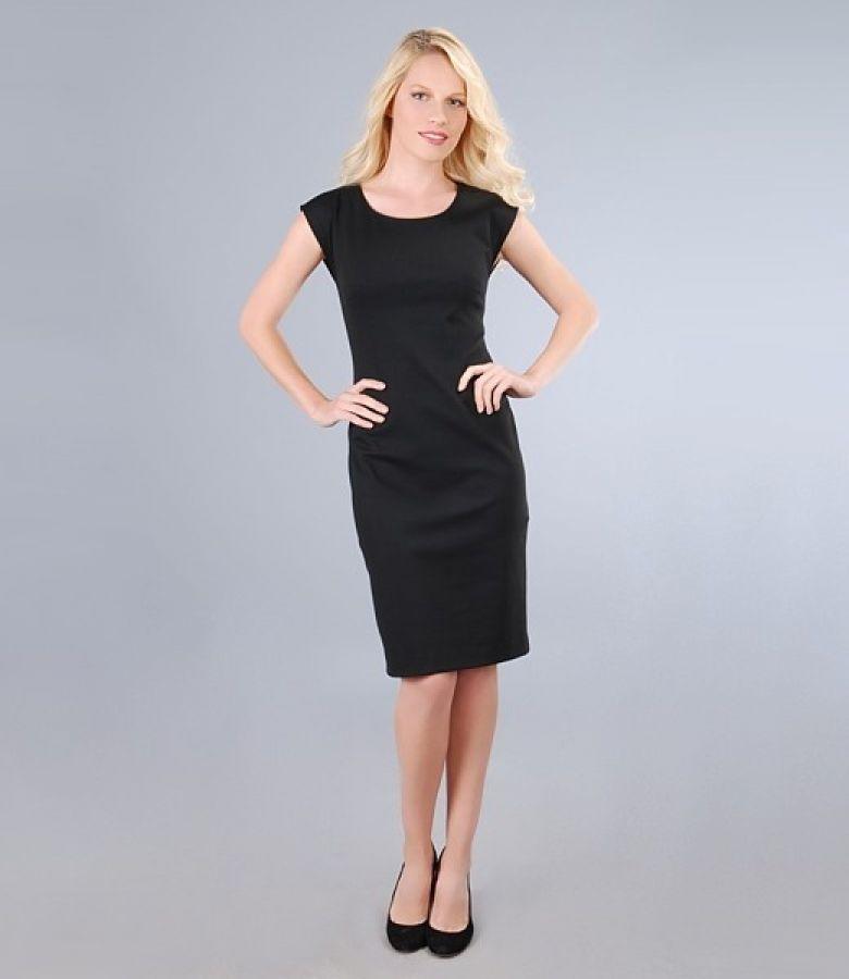 Rochie din jerse elastic gros negru