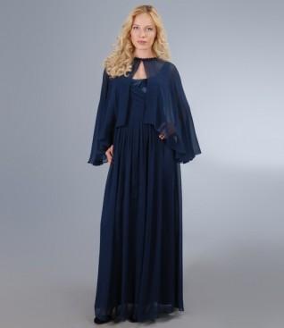 Rochie lunga cu corsaj de saten si voal