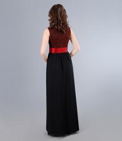 Rochie lunga cu corsaj din brocart elastic si cordon