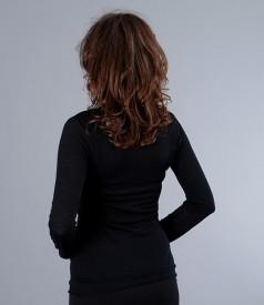 Tricou negru din jerse de lana