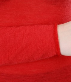 Tricou rosu din jerse de lana