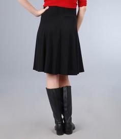 Fusta in clini din jerse elastic gros negru