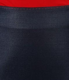 Fusta office bleumarin cu lana virgina elastica si fir de efect