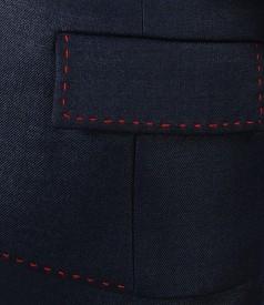 Sacou office bleumarin cu lana virgina elastica si fir de efect
