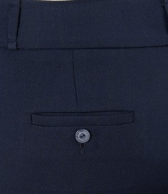 Pantaloni bleumarin cu lana elastica