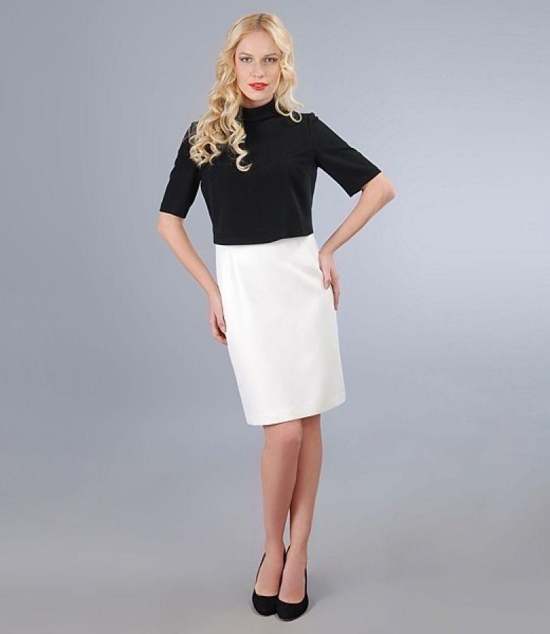 Rochie eleganta alb-ecru cu bolero contrast