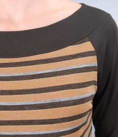 Tricou din jerse elastic imprimat cu lana virgina si cordon