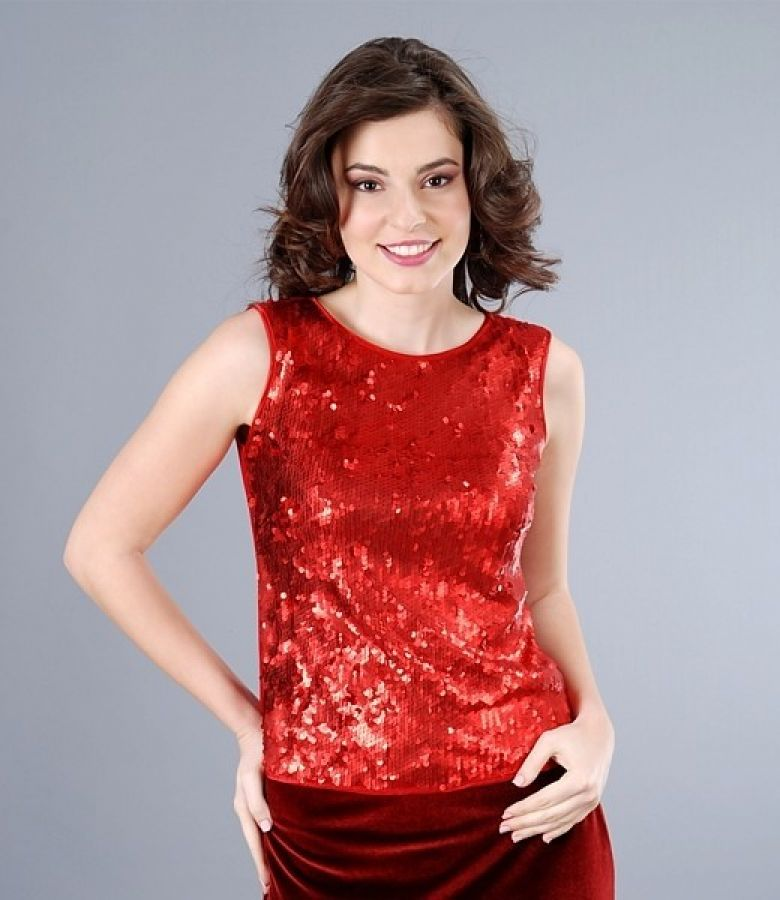 Bluza cu paiete rosii