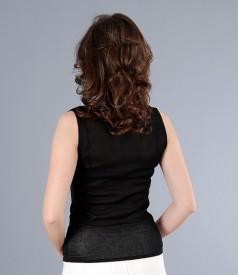 Tricou jerse negru cu falduri si fir de efect