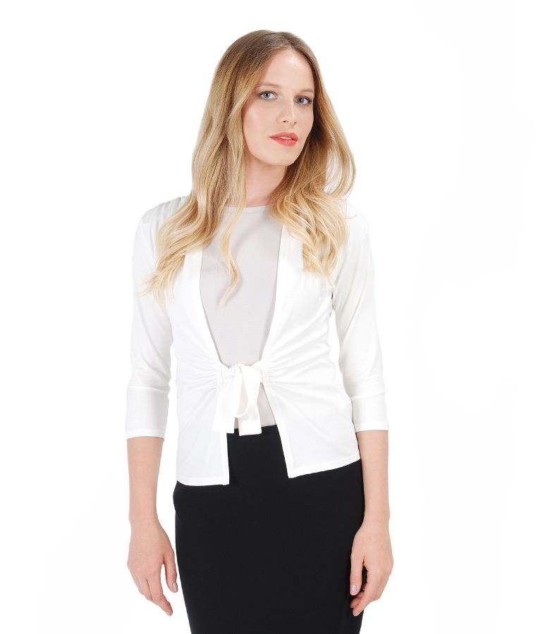 Bluza din jerse alb-ecru legata cu cordon