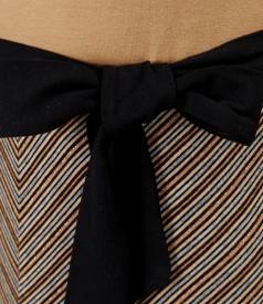 Rochie din jerse elastic imprimat cu lana virgina