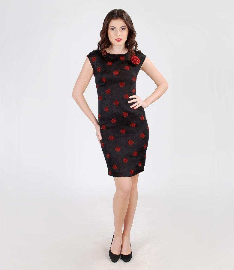 Rochie de ocazie din brocart elastic satinat cu trandafir