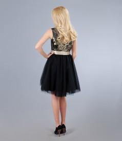 Rochie cu corsaj din brocart cu lana si fir de efect auriu
