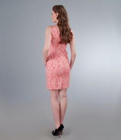 Rochie din bumbac elastic brocat corai