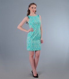 Rochie din bumbac elastic brocat turquoise