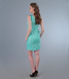 Rochie din bumbac elastic brocat turquoise