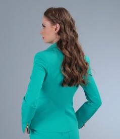 Sacou din bumbac elastic turquoise