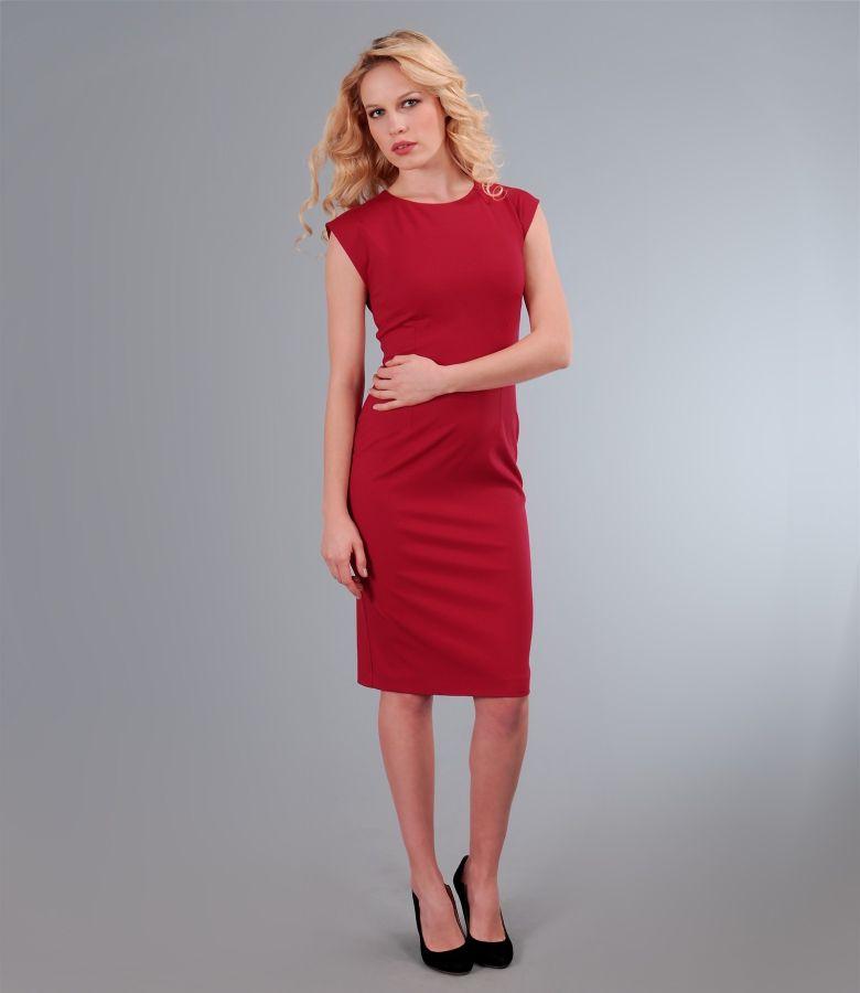 Rochie din jerse elastic rosu
