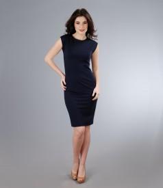 Rochie din jerse elastic bleumarin