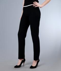 Pantaloni eleganti cu garnitura de lac