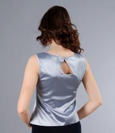 Bluza din saten elastic gri