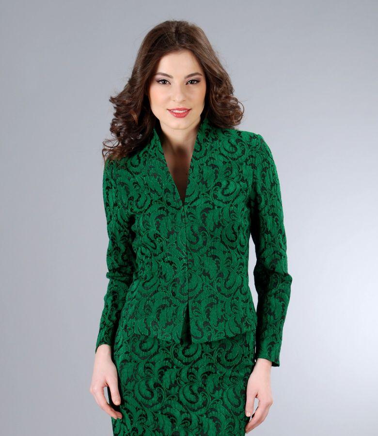 Sacou din brocart elastic verde