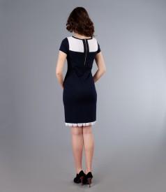 Rochie din jerse elastic cu garnitura de voal