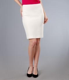 Fusta office din stofa elastica alb-ecru