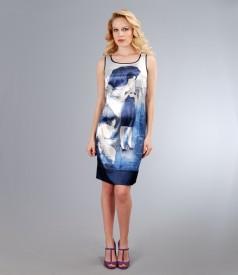 Rochie din saten elastic imprimat cu garnitura