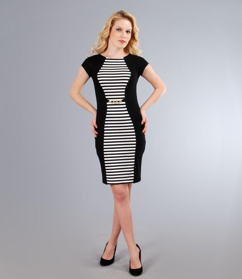 Rochie din jerse elastic cu insertie alb-negru si accesoriu