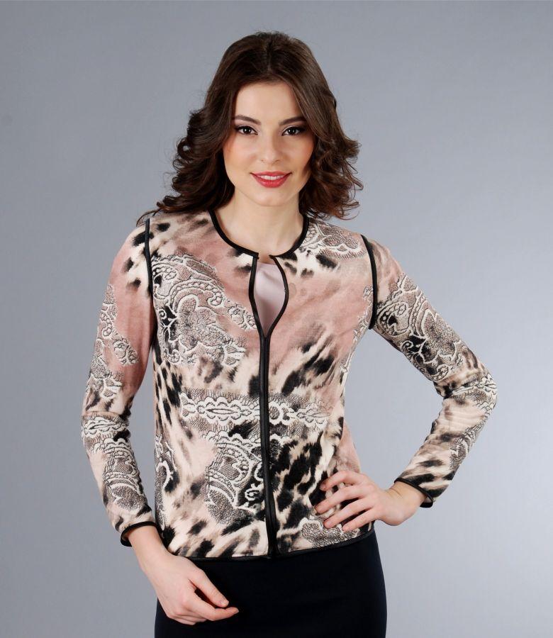 Bluza din jerse elastic imprimat cu garnitura
