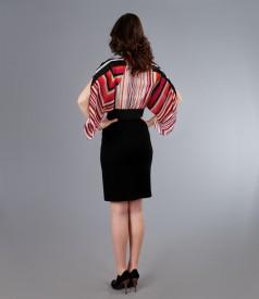 Rochie din voal si jerse elastic cu maneci fluture