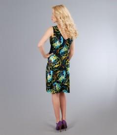Rochie din jerse elastic imprimat cu falduri