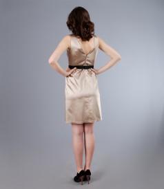 Rochie din saten elastic gros cu cordon