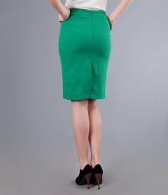 Fusta office din stofa elastica verde cu cordon