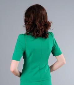 Sacou office din stofa elastica verde