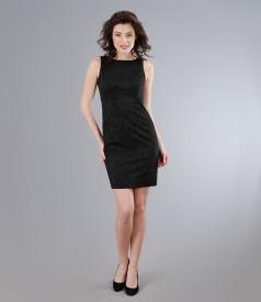 Rochie din brocart elastic negru cu efect satinat