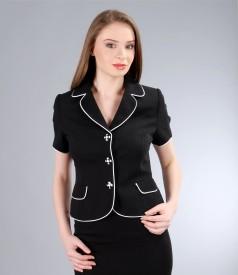Sacou din vascoza creponata neagra cu garnitura contrast