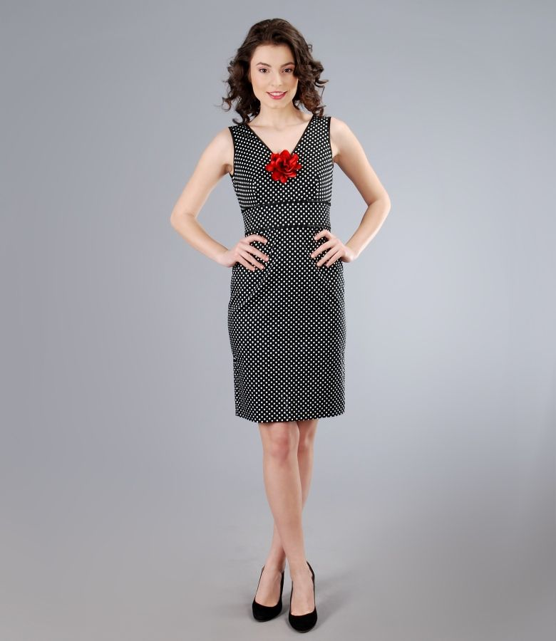 Rochie din bumbac elastic imprimat cu floare