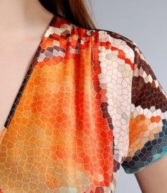 Rochie in colturi din saten elastic cu imprimeu grafic